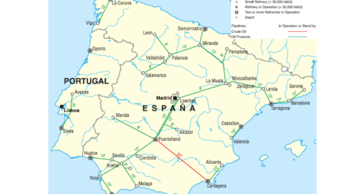Spain imports natural gas through two international pipelines. The Trans-Pyrenean pipeline,