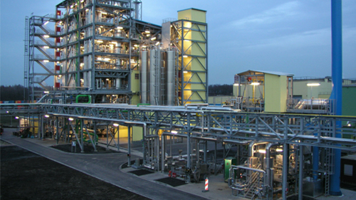 Lanxess used their world-scale production plant to make bio-based PBT from 20 tons of bio-based BDO made with Genomatica's process technology. Shown here, the PBT plant at Hamm-Uentrop, Germany, used by Lanxess for this conversion.