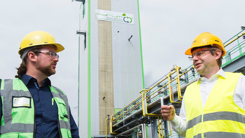 Project Lead ChemCyclingTM at BASF, in front of Pyrum's tire pyrolysis plant in Dillingen/Saar Germany.